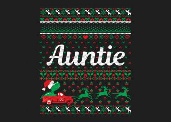100% Pattern Auntie Family Ugly Christmas Sweater Design.