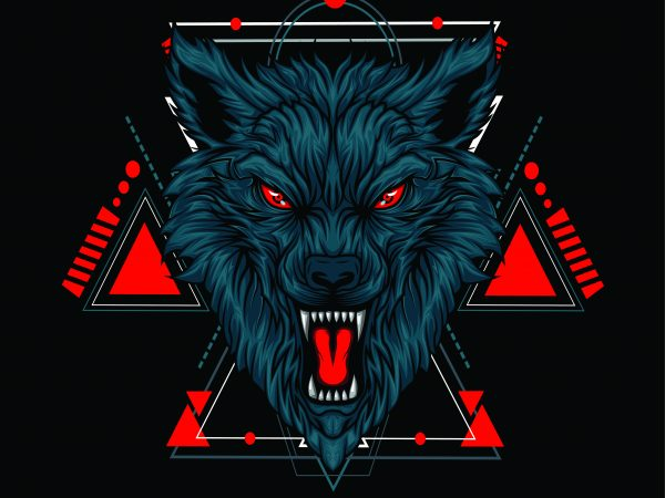 WOLF HEAD GEOMETRIC buy t shirt design for commercial use