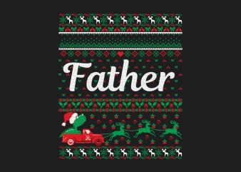 100% Pattern Father Family Ugly Christmas Sweater Design.