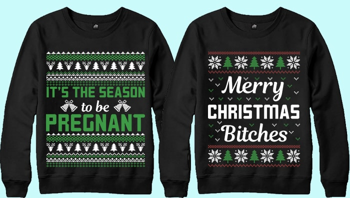 70 print ready Ugly Christmas Sweater Designs Bundle.