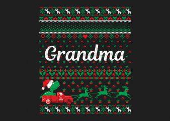 100% Pattern Grandma Family Ugly Christmas Sweater Design.