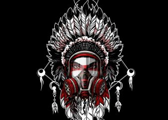 girl Indian chief with a gas mask t shirt design template