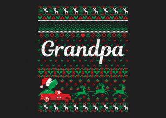 100% Pattern Grandpa Family Ugly Christmas Sweater Design.