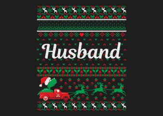 100% Pattern Husband Family Ugly Christmas Sweater Design.