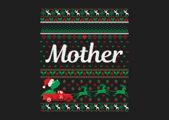 100% Pattern Mother Family Ugly Christmas Sweater Design.