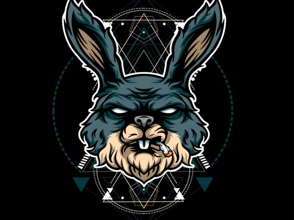 RABIT HEAD GEOMETRIC commercial use t-shirt design