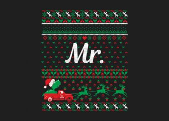100% Pattern Mr. Family Ugly Christmas Sweater Design
