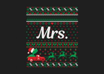 100% Pattern Mrs. Family Ugly Christmas Sweater Design.
