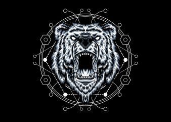 BEAR HEAD GEOMETRIC t shirt template