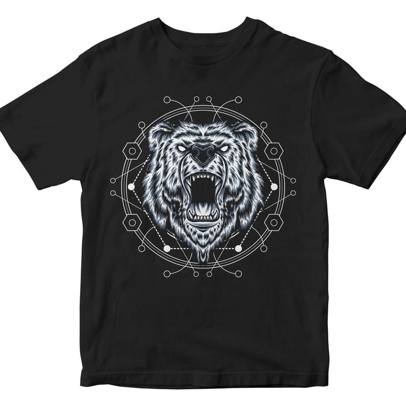 BEAR HEAD GEOMETRIC t shirt designs for teespring