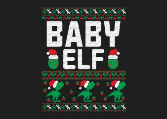 100% Pattern Baby ELF Family Ugly Christmas Sweater Design.