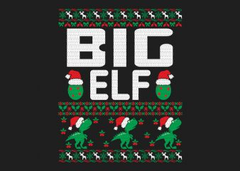 100% Pattern Big ELF Family Ugly Christmas Sweater Design.