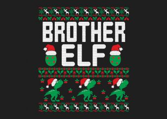100% Pattern Brother ELF Family Ugly Christmas Sweater Design.