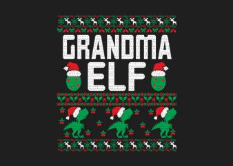 100% Pattern Grandma ELF Family Ugly Christmas Sweater Design.