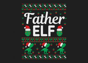 100% Pattern Father ELF Family Ugly Christmas Sweater Design.