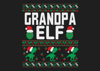 100% Pattern Grandpa ELF Family Ugly Christmas Sweater Design.