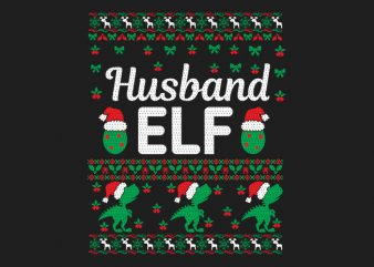 100% Pattern Husband ELF Family Ugly Christmas Sweater Design.
