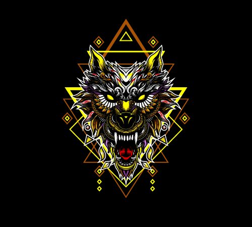 WOLF HEAD GEOMETRIC t shirt design for purchase