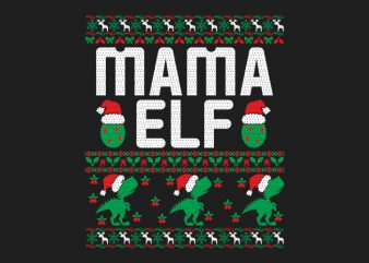 100% Pattern Mama ELF Family Ugly Christmas Sweater Design.