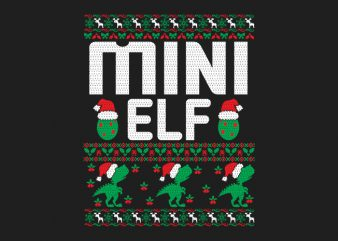 100% Pattern Mini ELF Family Ugly Christmas Sweater Design.