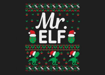 100% Pattern Mr. ELF Family Ugly Christmas Sweater Design.