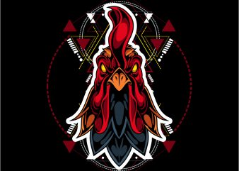 geometric roosters t shirt design template