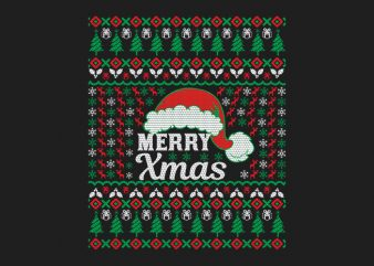 100% Pattern Ugly Merry Xmas Sweater Design