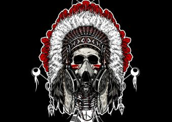 skull Indian chief with a gas mask t shirt template vector