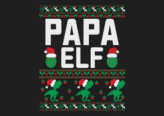 100% Pattern Papa ELF Family Ugly Christmas Sweater Design.