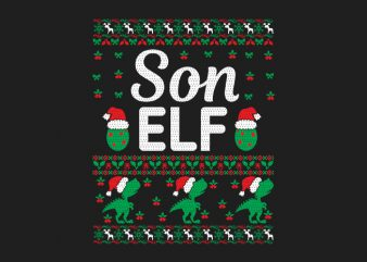 100% Pattern Son ELF Family Ugly Christmas Sweater Design.
