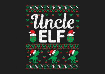 100% Pattern Uncle ELF Family Ugly Christmas Sweater Design.