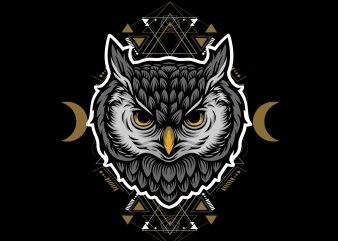 cartoon owl geometric buy t shirt design for commercial use