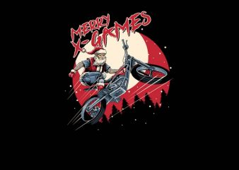 Santa X Games t shirt design for download