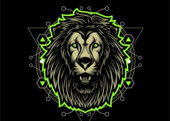 king lion geometric t shirt design for purchase