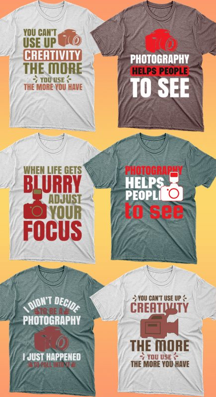 50 Editable Photography T-shirt Designs Bundle vector shirt designs