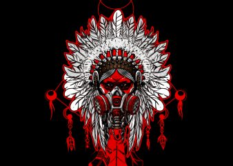 Indian chief with a gas mask t shirt design for sale