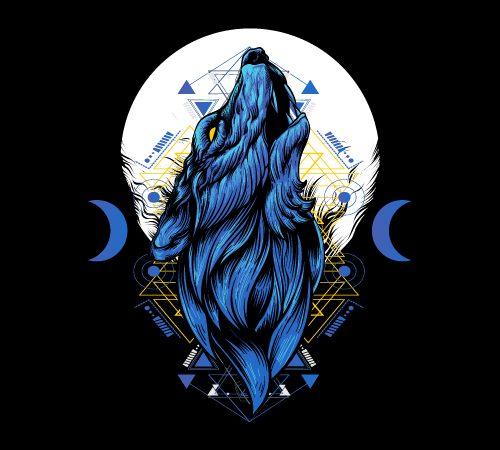 night wolf head geometric T shirt vector artwork