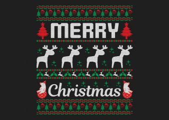 100% Pattern Ugly Merry Christmas Sweater Design.