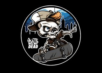 Skull Skateboard Cartoon t shirt template vector