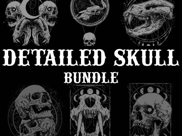 detailed skull bundle tshirt design