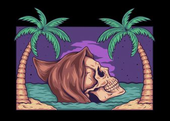 SKULL BEACH t shirt design png