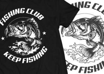 Bash Fish Fishing Club Tshirt Design