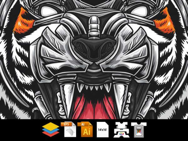Robotic Tiger – Vector T-shirt Design