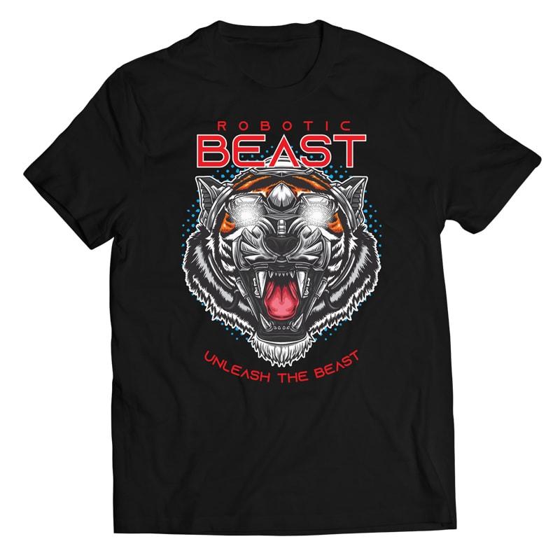 Robotic Tiger – Vector T-shirt Design vector t shirt design