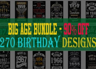 BIG BIRTHDAY AGE BUNDLE PSD FILE – 90% OFF – Editable 270 files, PSD, FONT t shirt template