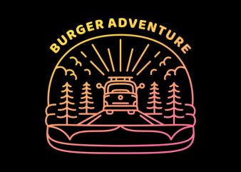 Burger Adventure vector t-shirt design template