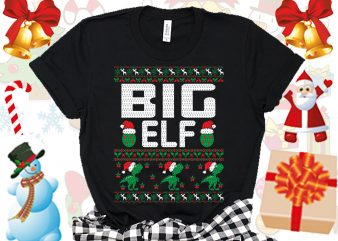 Editable Big ELF Family Ugly Christmas sweater design
