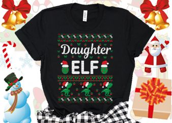 Editable Daughter ELF Family Ugly Christmas sweater design.