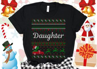 Editable Daughter Family Ugly Christmas sweater design