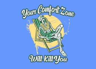 COMFORT ZONE vector t-shirt design template